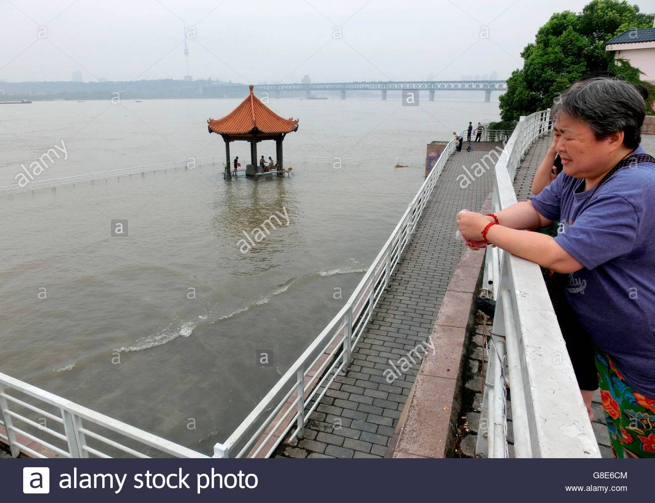 Wuhan, China. 29th June, 2016. A local waterborne platform submerged by the river with endless heavy rainfall that - Stock Image