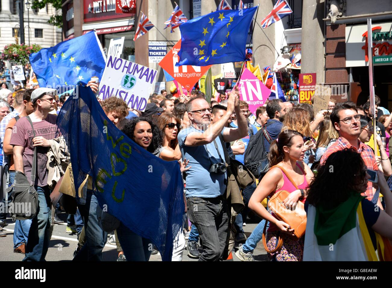 The March for Europe makes its way down Whitehall towards Parliament Square in Central London. - Stock Image