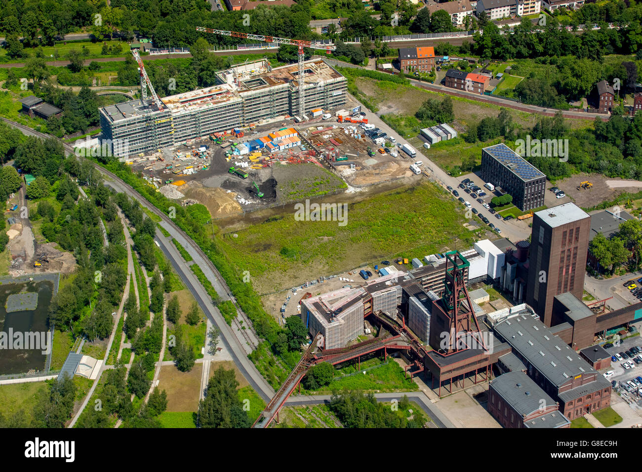 Aerial view, PACT Zollverein PACT Zollverein, construction of the Folkwang University of the Department of Design - Stock Image