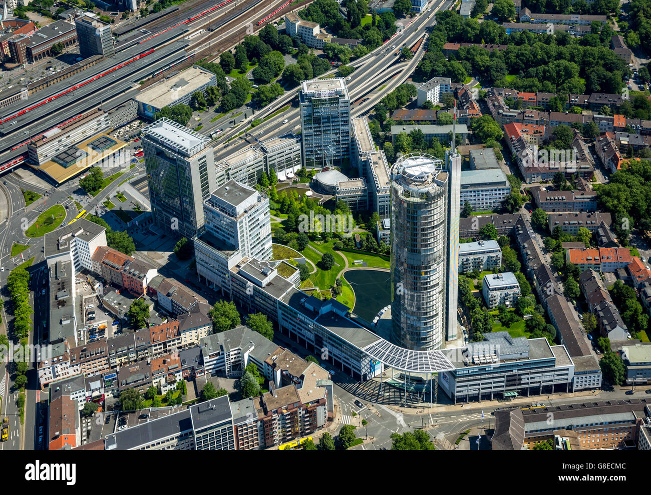 Aerial view, RWE Tower, EVONIK Headquarters, RAG-management, central station south entrance, Essen, Ruhr Area, Stock Photo