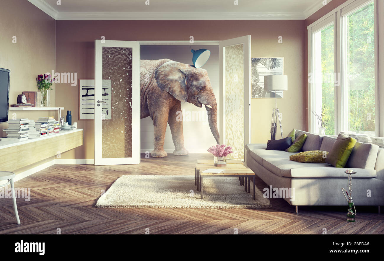 Big elephant, walking in the apartment rooms. 3d concept - Stock Image