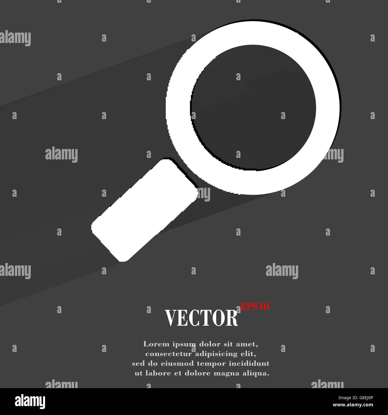 Search magnifier. Flat modern web button with long shadow and space for your text. Vector. EPS10 - Stock Image