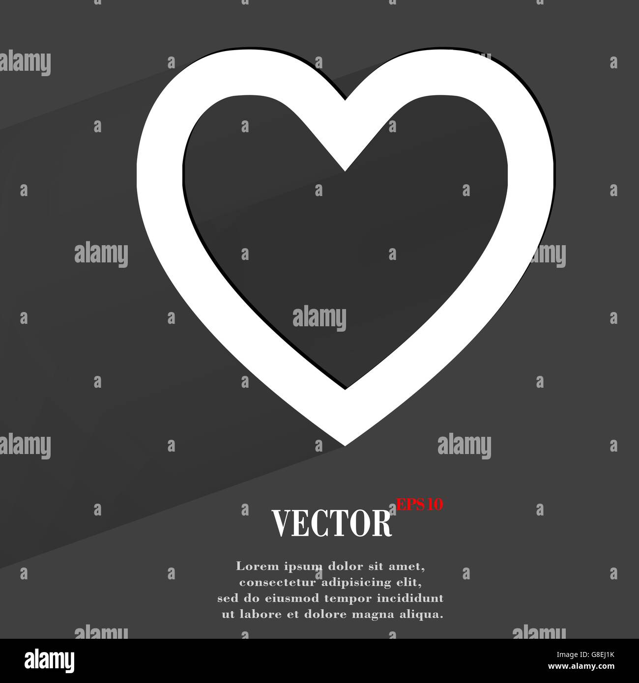 Heart. Flat modern web button with long shadow and space for your text. Vector. EPS10 - Stock Image