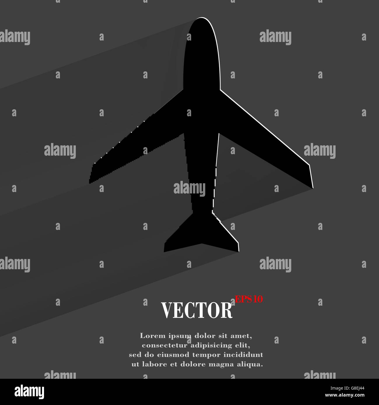 Plane . Flat modern web button with long shadow and space for your text. Vector. EPS10 - Stock Image