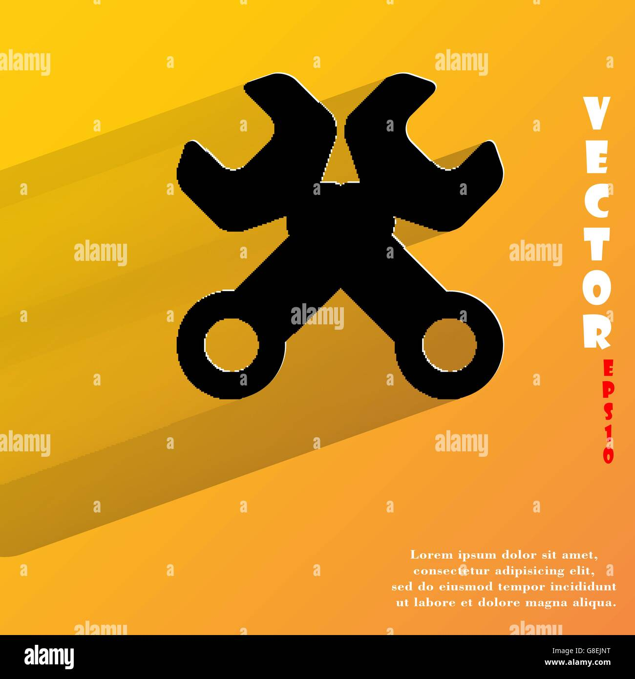 Wrench. tool to work. Flat modern web button with long shadow and space for your text. Vector. EPS10 - Stock Vector