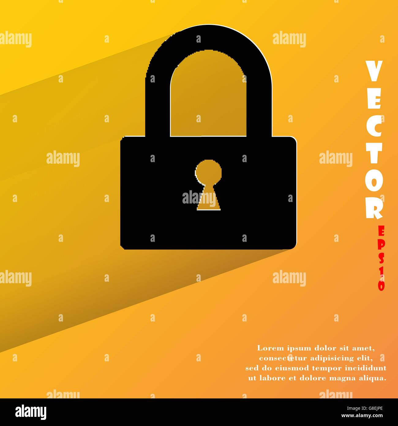 padlock. Flat modern web button with long shadow and space for your text. Vector. EPS10 - Stock Vector