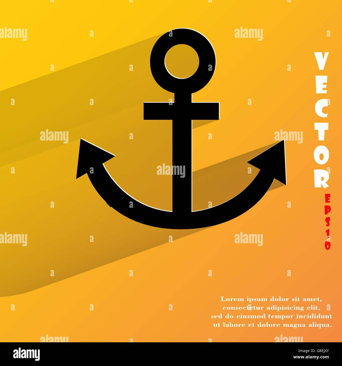 Anchor. Flat modern web button with long shadow and space for your text. Vector. EPS10 - Stock Vector