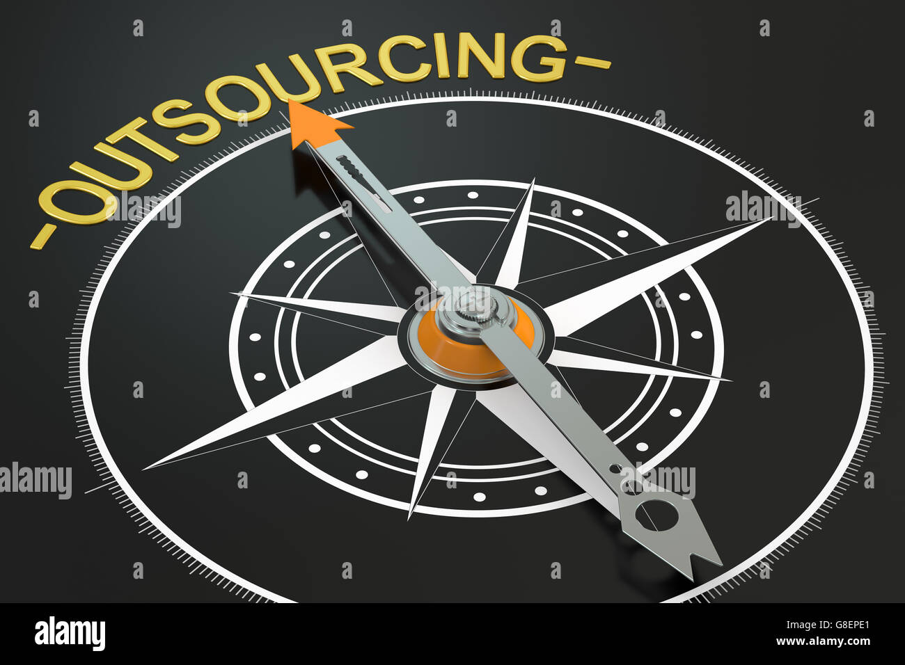 Outsourcing compass concept, 3D rendering - Stock Image