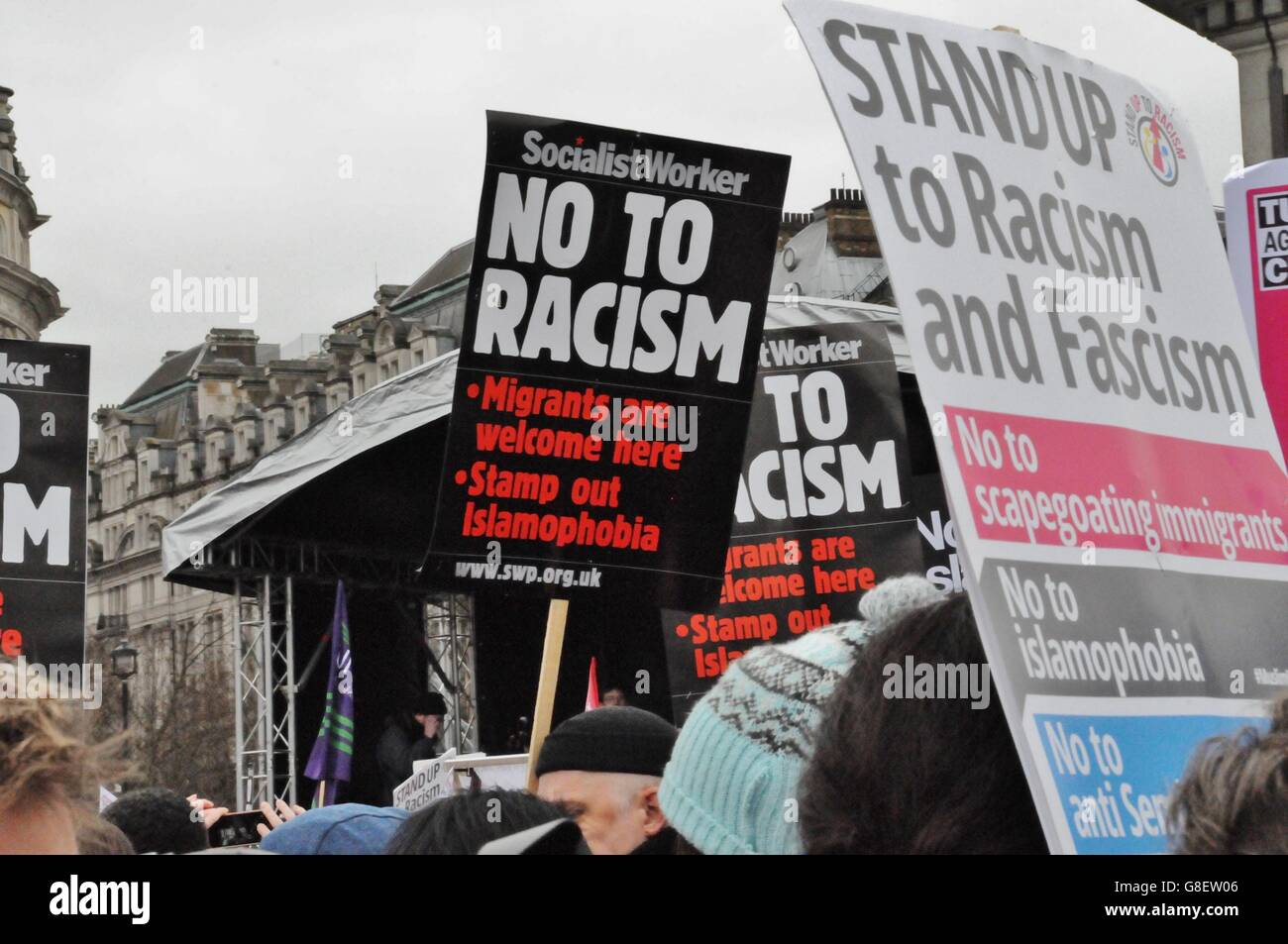 UN Anti-racist demonstration in London's Trafalgar square - Stock Image
