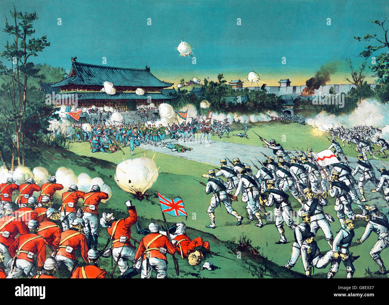 Boxer Rebellion, 1900. 'The Fall of the Pekin castle, the hostile army being beaten away from the imperial castle - Stock Image