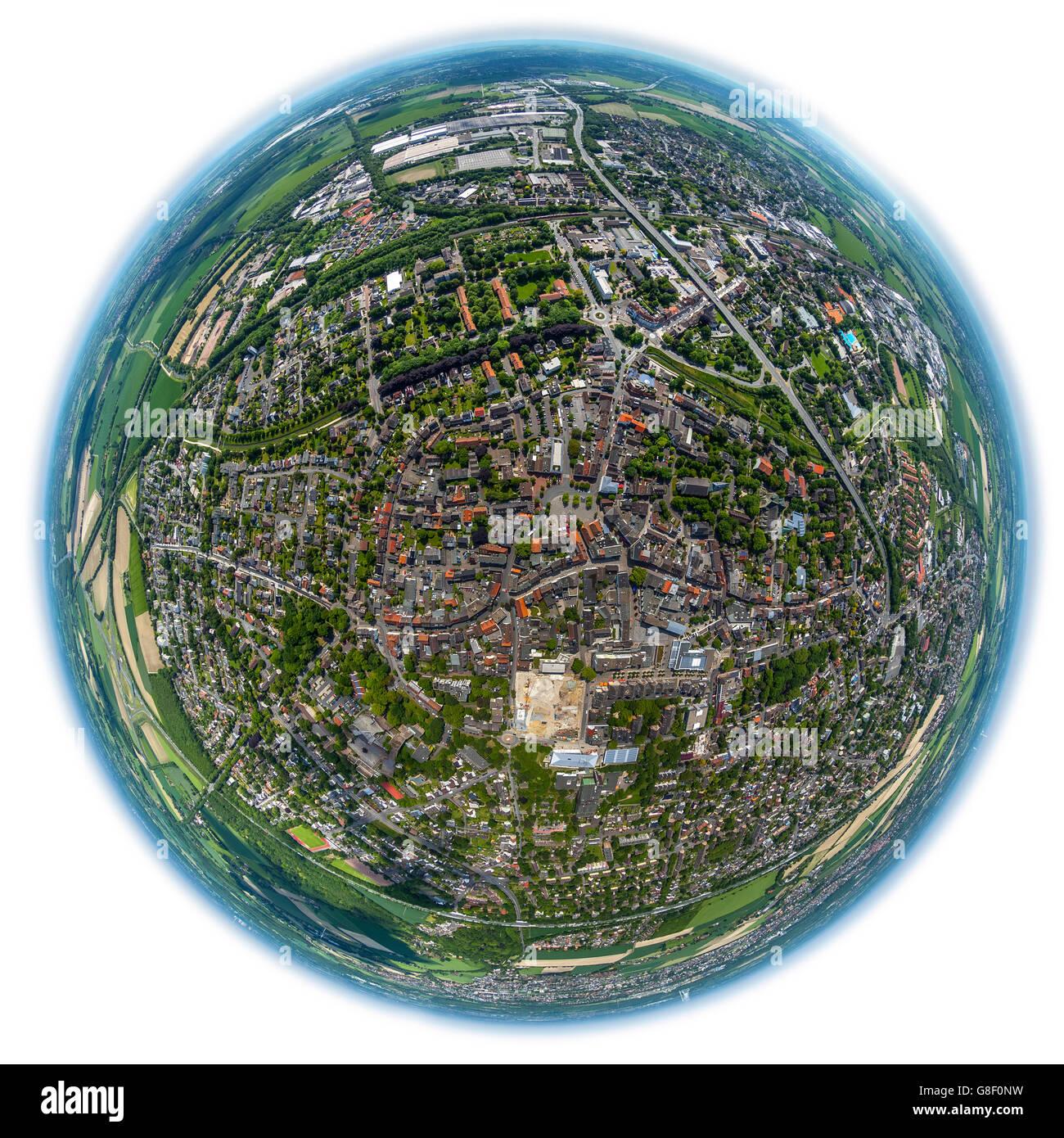 Aerial view, fisheye optics, fisheye lens, overview of Kamen, Kamen, Ruhr area, North Rhine Westphalia, Germany, - Stock Image