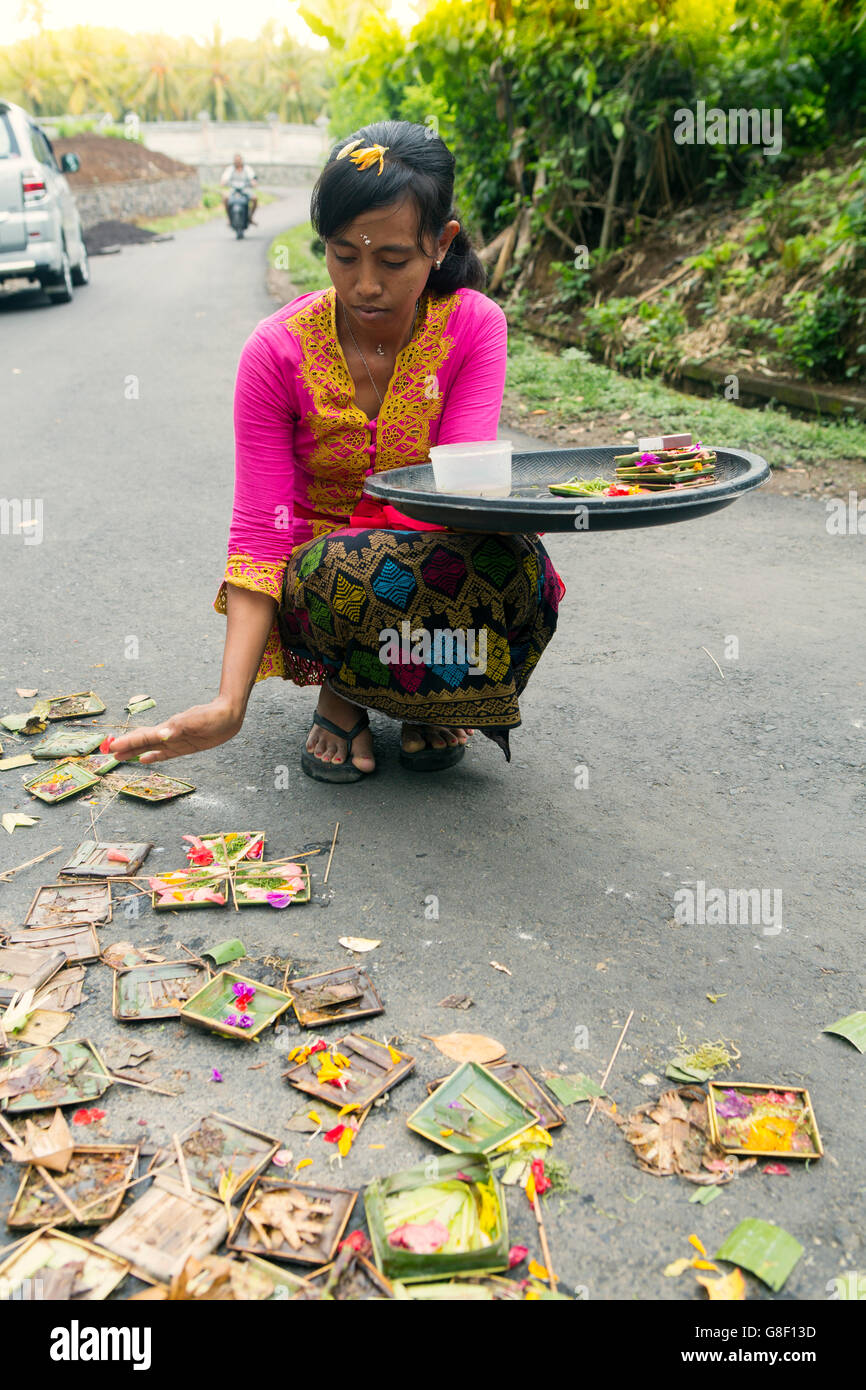 Balinese devotee leaving Canang sari ritual offerings on a road near Ubud - Stock Image