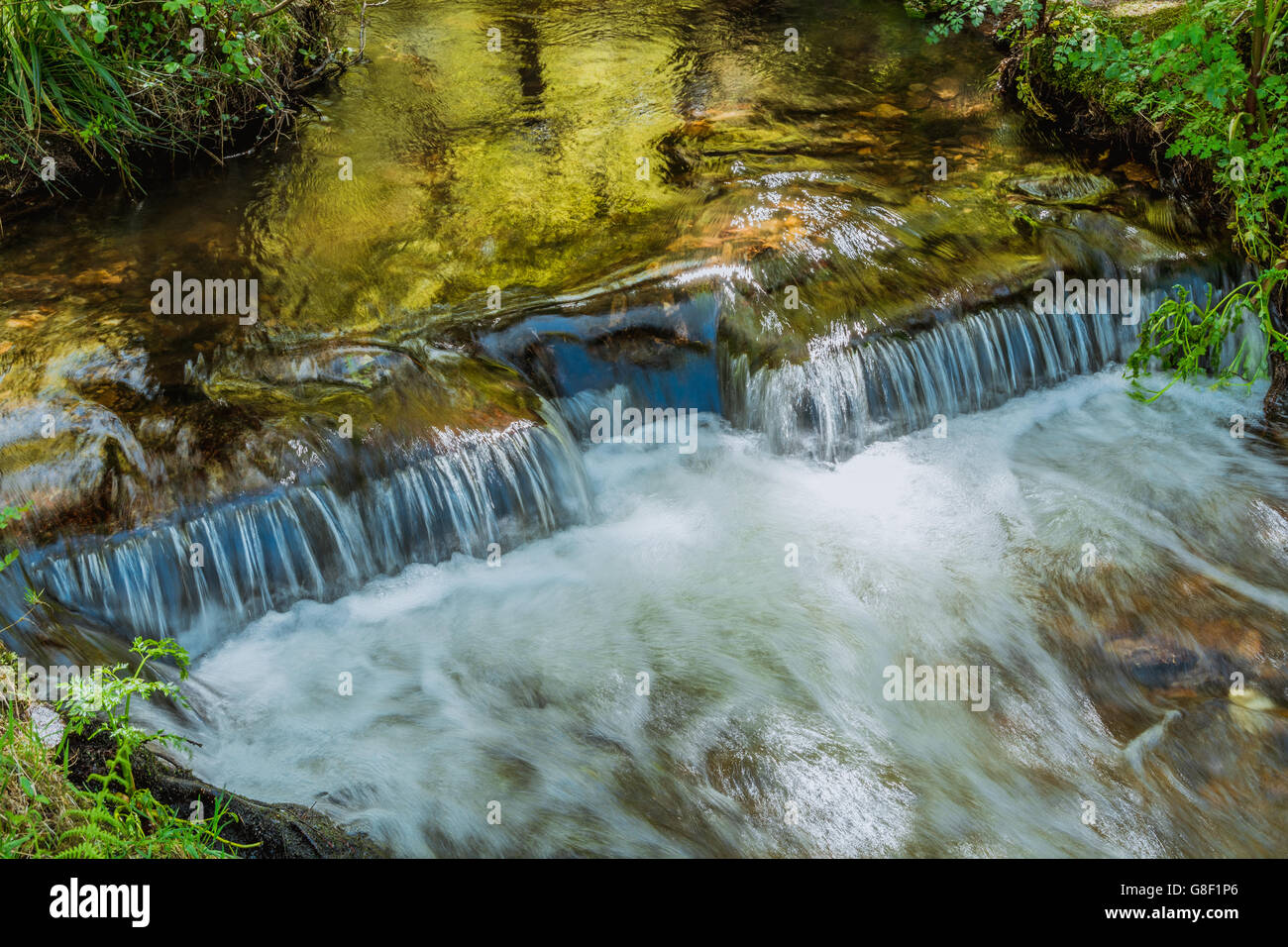 Close View of Man Made Water Sluice on a River - Stock Image