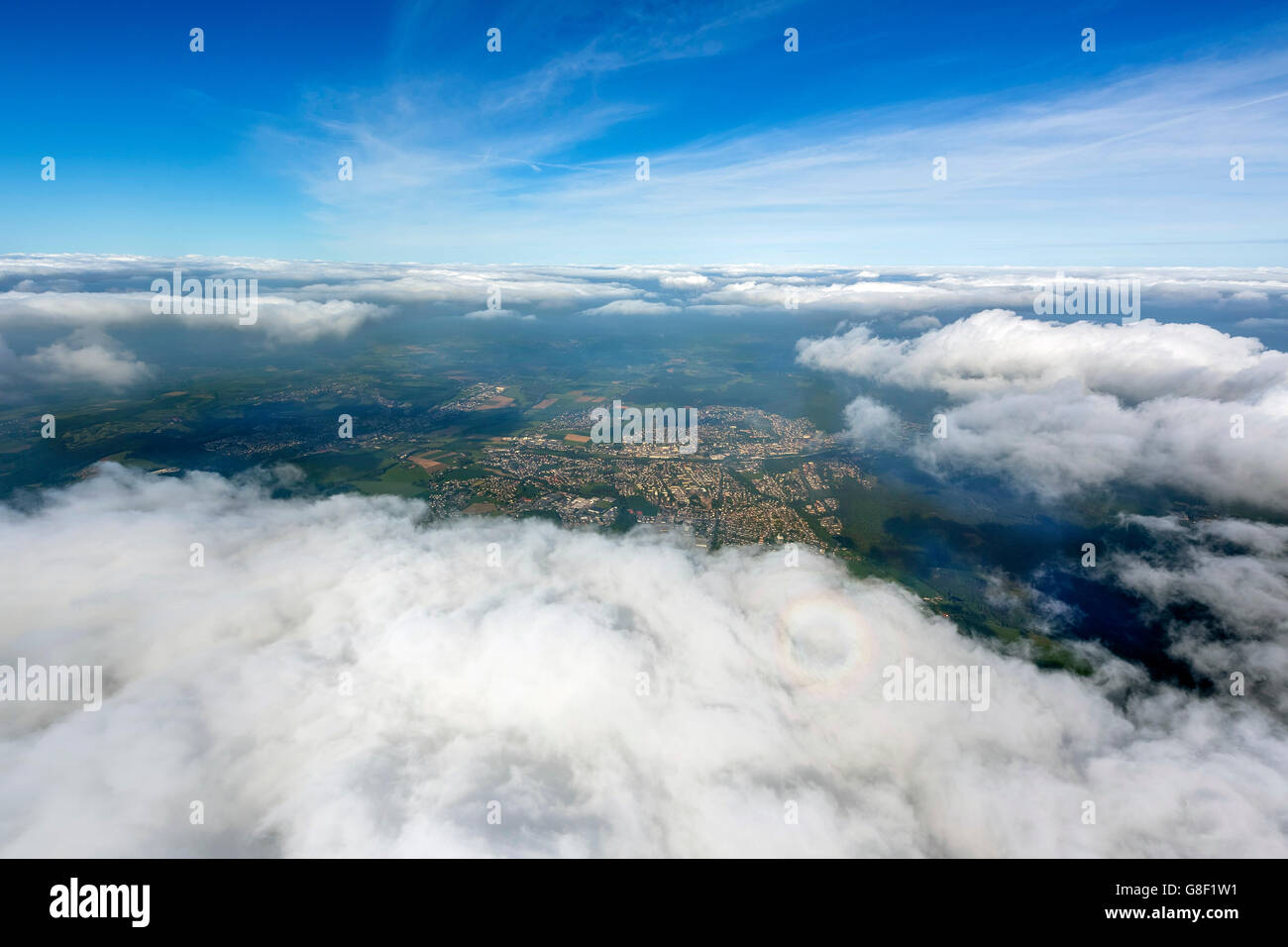 Aerial view, fisheye optics, fisheye lens, overview of Menden, view through the cloud cover from 5000 feet altitude, Stock Photo