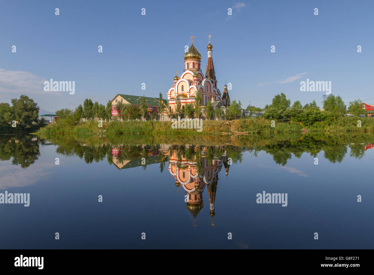 Reflections of a church in Almaty, Kazakhstan. Stock Photo