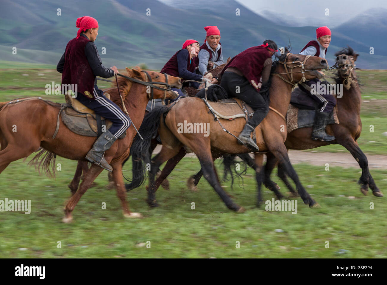 Traditional nomadic horse games of Ulak Tartysh. - Stock Image