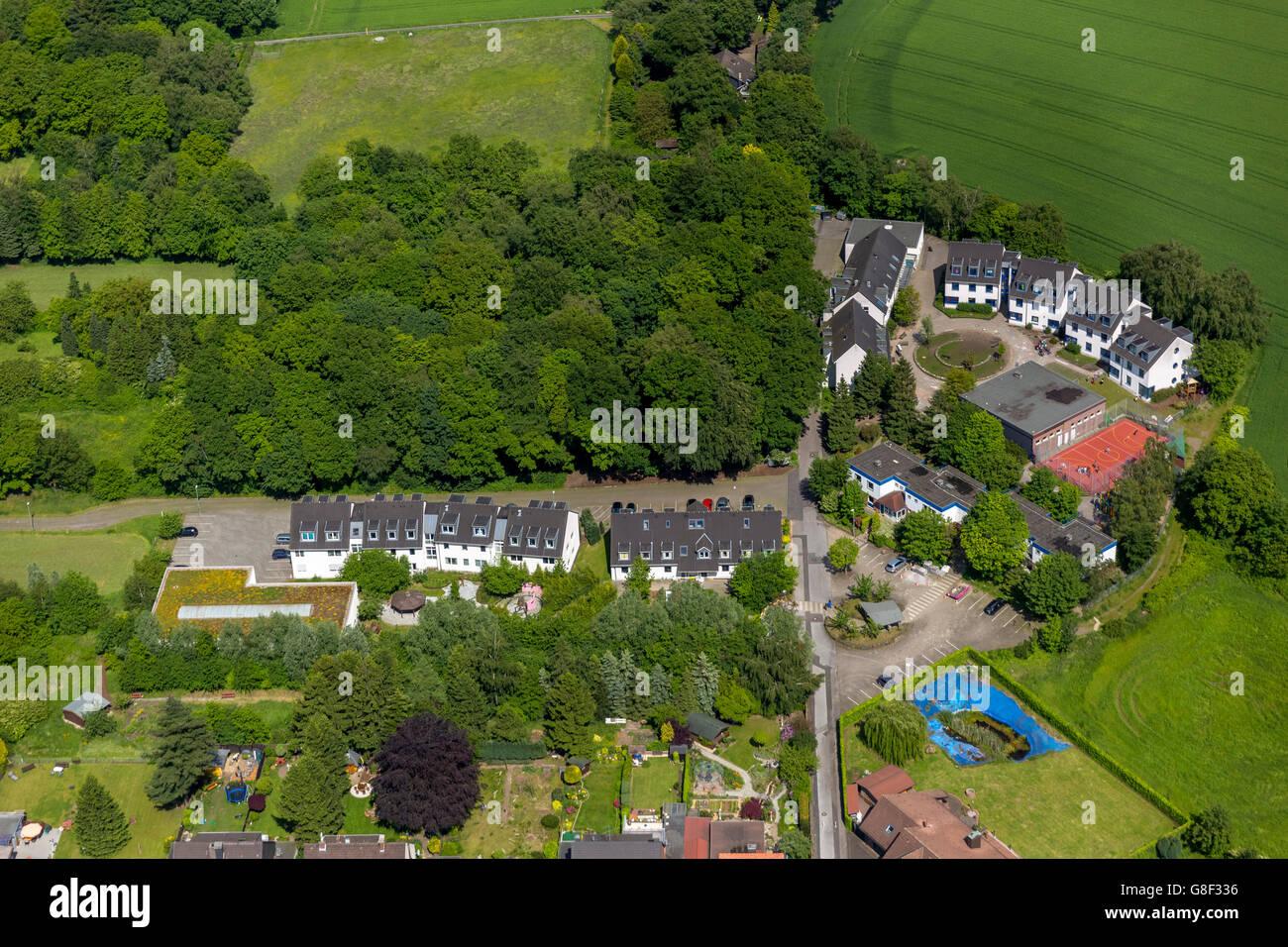 Aerial view, Peace Village Oberhausen e.V. Schmachtenberg, Oberhausen, Ruhr region, North Rhine Westphalia, Germany, - Stock Image