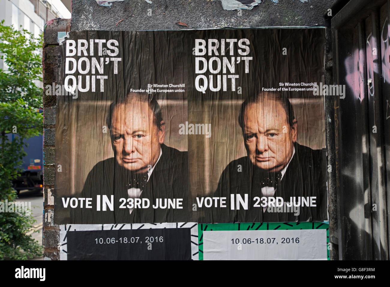 Remain posters featuring Sir Winston Churchill on a wall in Redchurch Street, Shoreditch, East London, UK. - Stock Image