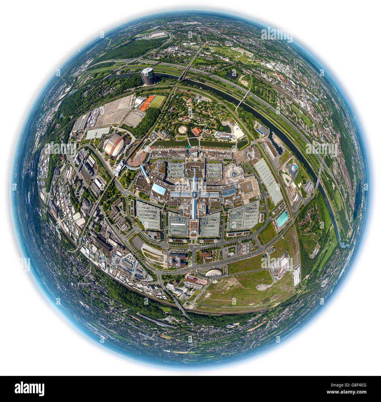 Aerial view, fisheye optics, fisheye lens, Centro Oberhausen, new center, shopping center, promenade, parking, tourism, - Stock Image