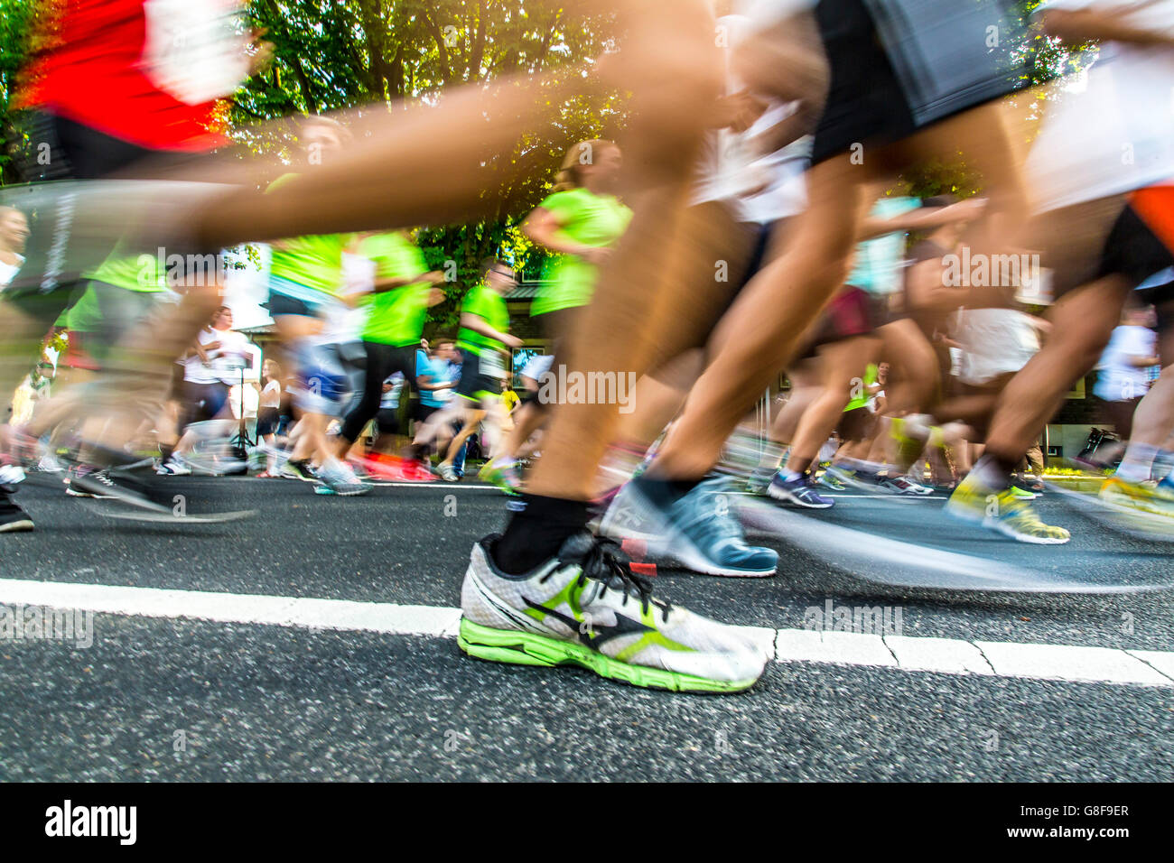 Public company run, more then 6000 runners of companies taking place in the annual running contest in Düsseldorf, - Stock Image