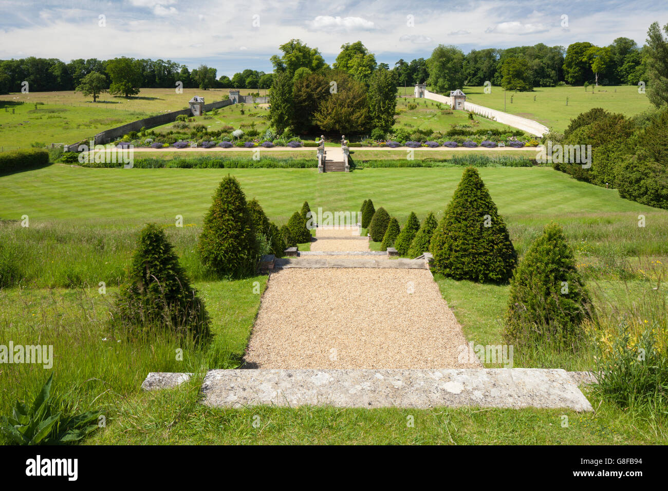 View of Easton Walled Garden's large walled kitchen garden from the terrace steps, Easton near Grantham, Lincolnshire, - Stock Image