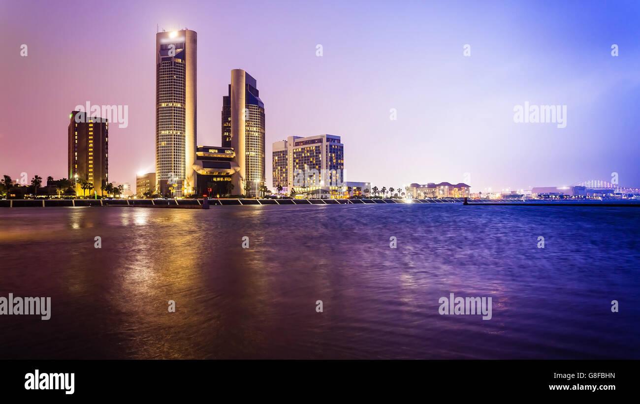 Skyline of downtown Corpus Christi, Texas at night - Stock Image