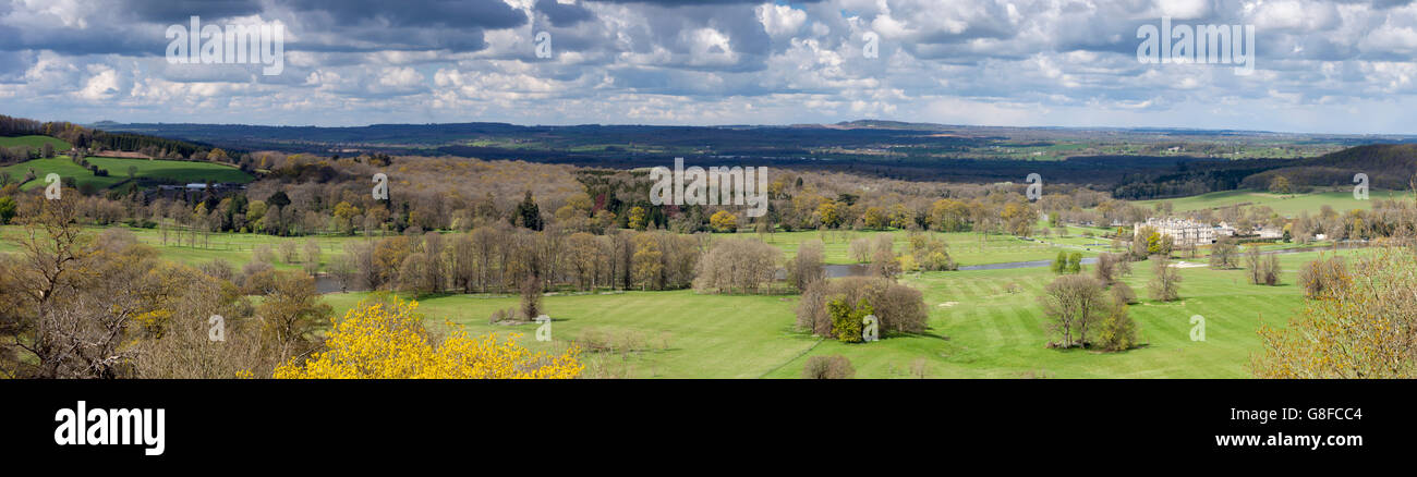 Panoramic view of Longleat House and the parkland created by 'Capability' Brown from Heavens Gate, Wiltshire, - Stock Image