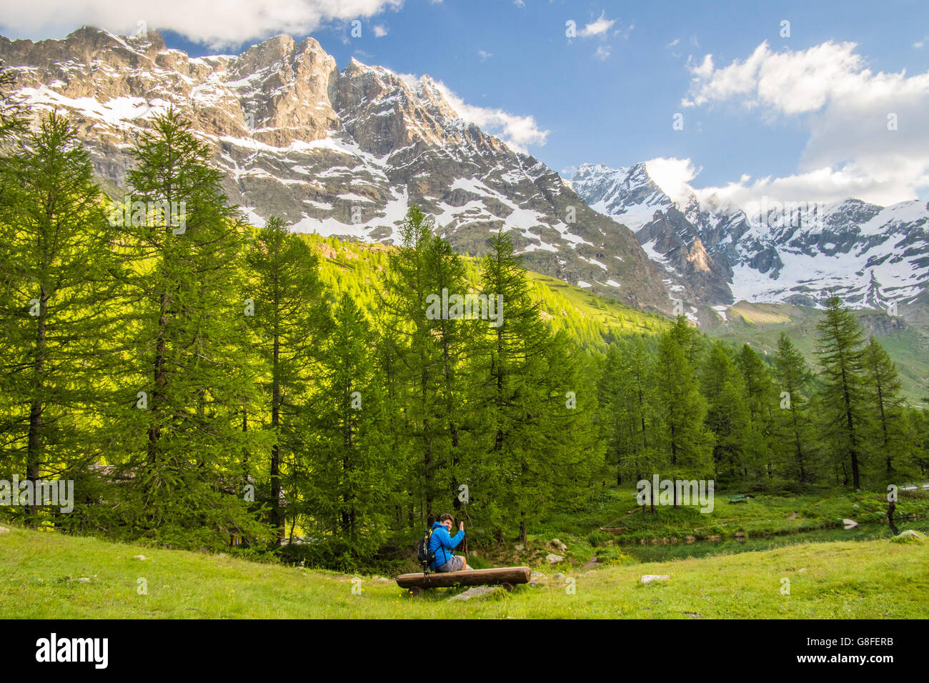 Lago Blu (Blue Lake) in the Aosta Valley, Italy. - Stock Image
