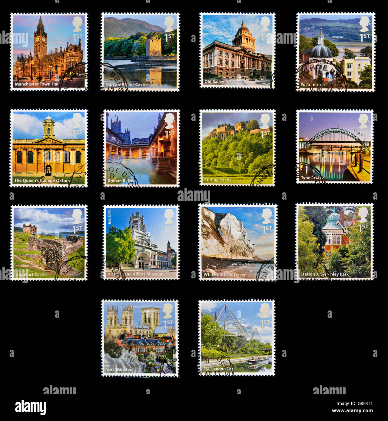 GRANADA, SPAIN - 12 JULY, 2012: Collection stamps printed in Great Britain shows emblematic place the UK, circa - Stock Image