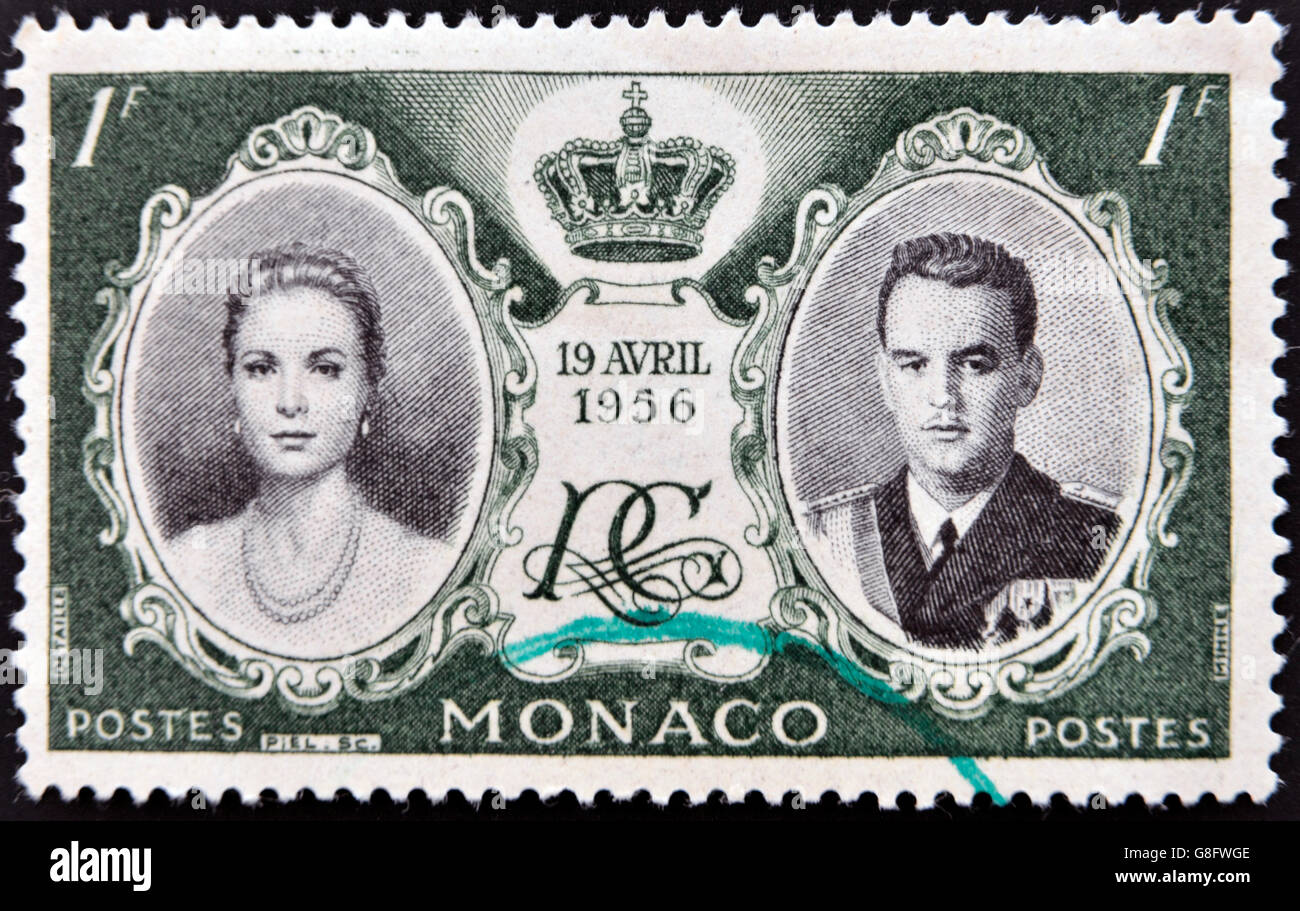 MONACO - CIRCA 1956: stamp printed in Monaco, shows Princess Grace and Prince Rainier III, circa 1956 - Stock Image