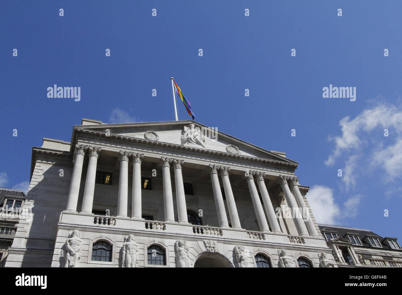 Gay Pride in London 2016. The Bank of England flying LGBT  rainbow flag over its building for the first time next - Stock Image
