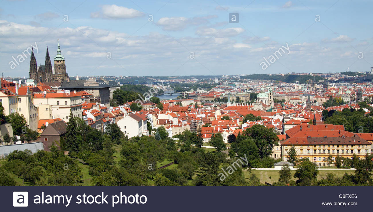 View of entire city of Prague - Stock Image