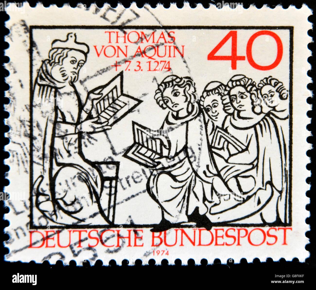 GERMANY - CIRCA 1974: A stamp printed in Germany shows Thomas Aquinas, circa 1974 - Stock Image