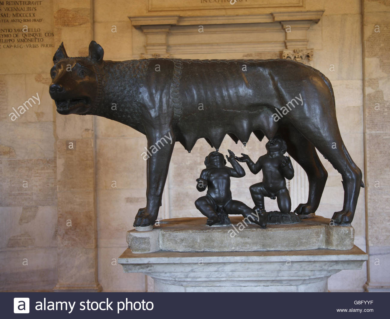 Bronze statue She-Wolf and infant twins Romulus and Remus, Capitoline Museum, Rome, Italy - Stock Image
