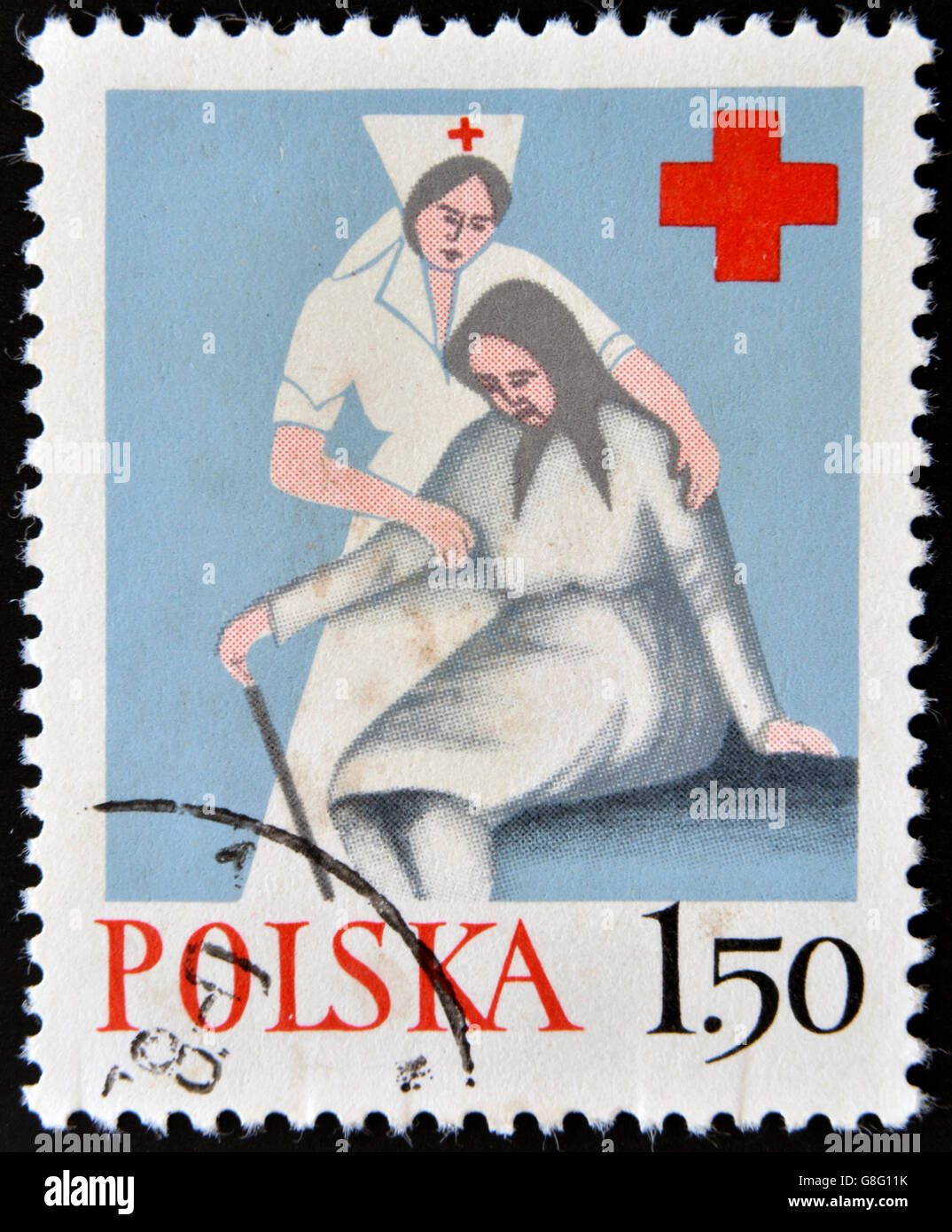 POLAND - CIRCA 1970: A stamp printed in Poland shows medical sister helps the elderly woman, circa 1970 - Stock Image