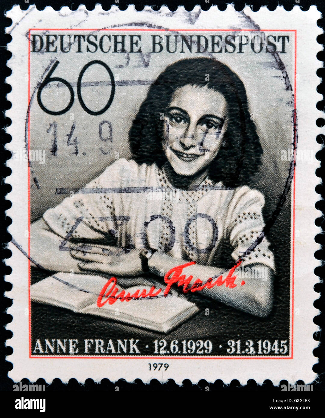 GERMANY CIRCA 1979: postage stamp printed in Germany shows an image of Anne Frank, circa 1979. Stock Photo
