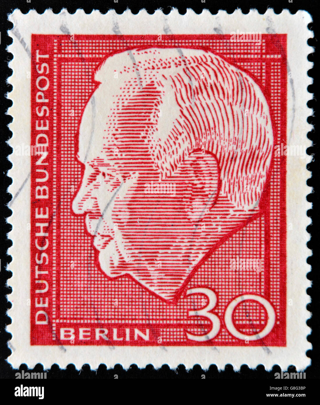 GERMANY - CIRCA 1964 A stamp printed in Germany shows Heinrich Lübke Karl, was President of the Federal Republic - Stock Image