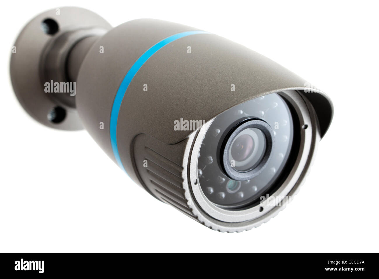 IP camera, security surveillance ip-cam isolated on white - Stock Image