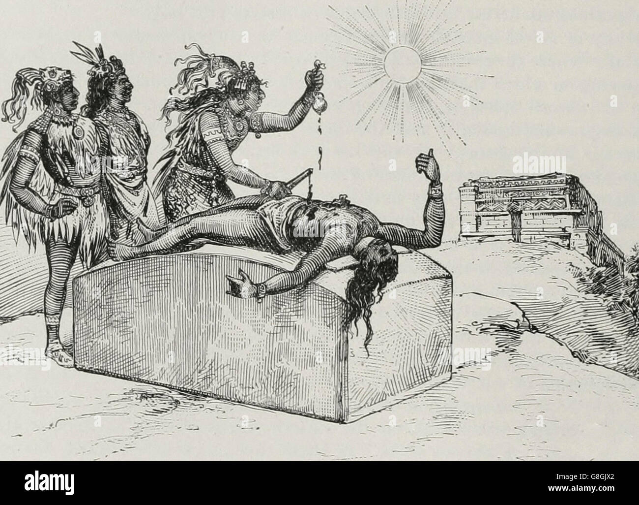 Aztecs sacrificing to the Sun - Stock Image