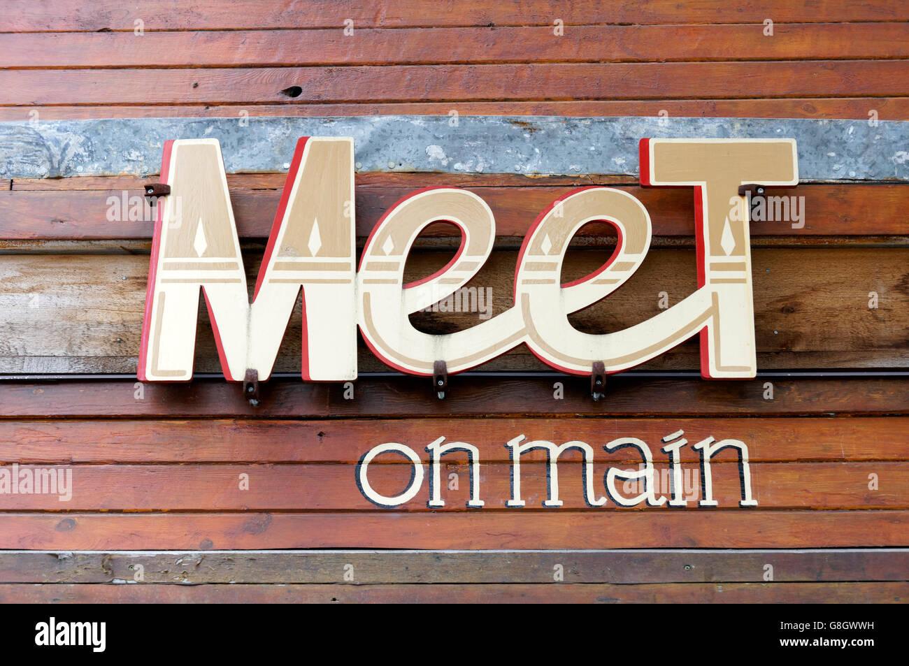 Meet on Main vegan restaurant on Main Street, Vancouver, British Columbia, Canada - Stock Image