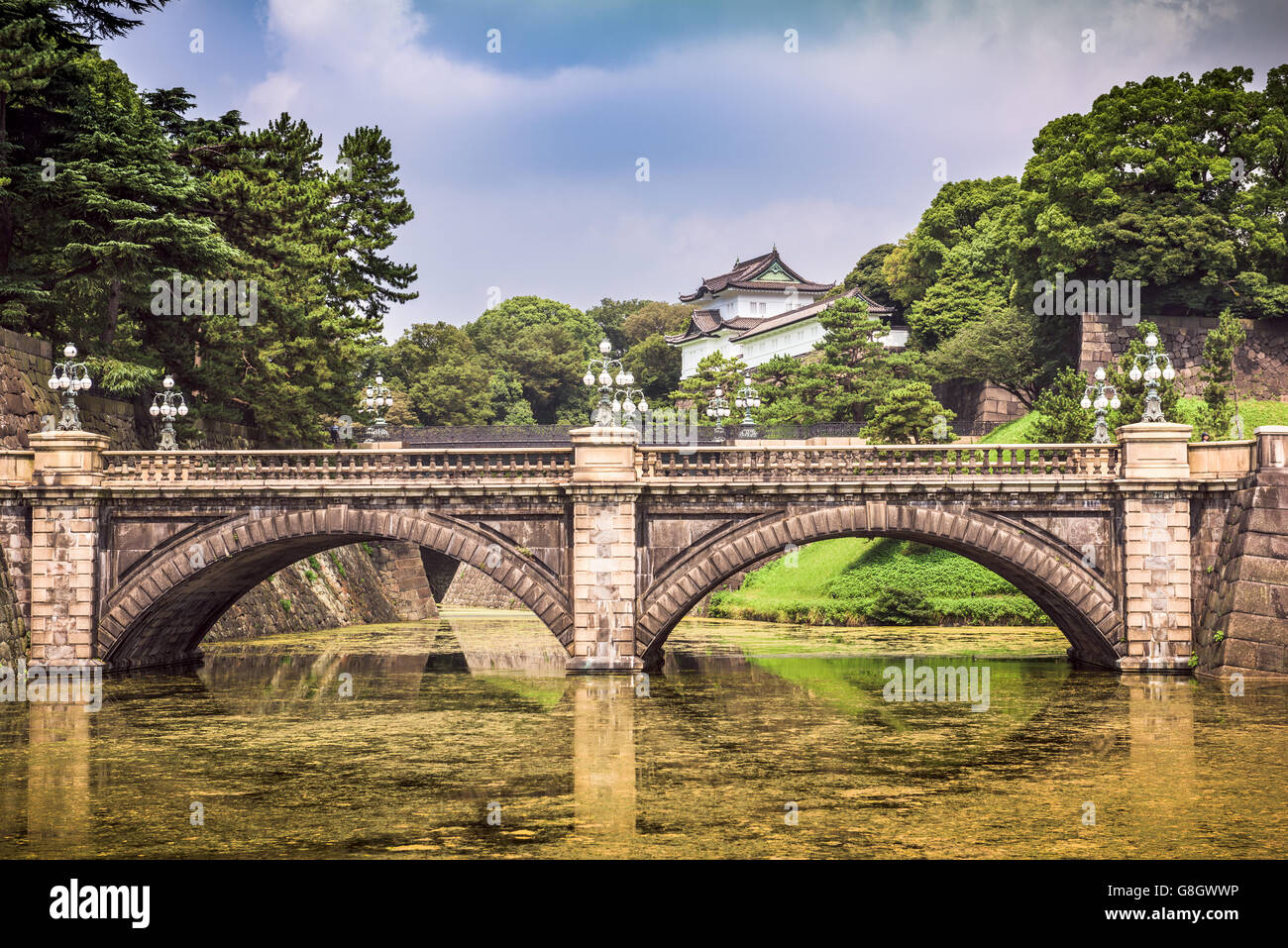 Tokyo Imperial Palace of Japan moat and bridge. - Stock Image