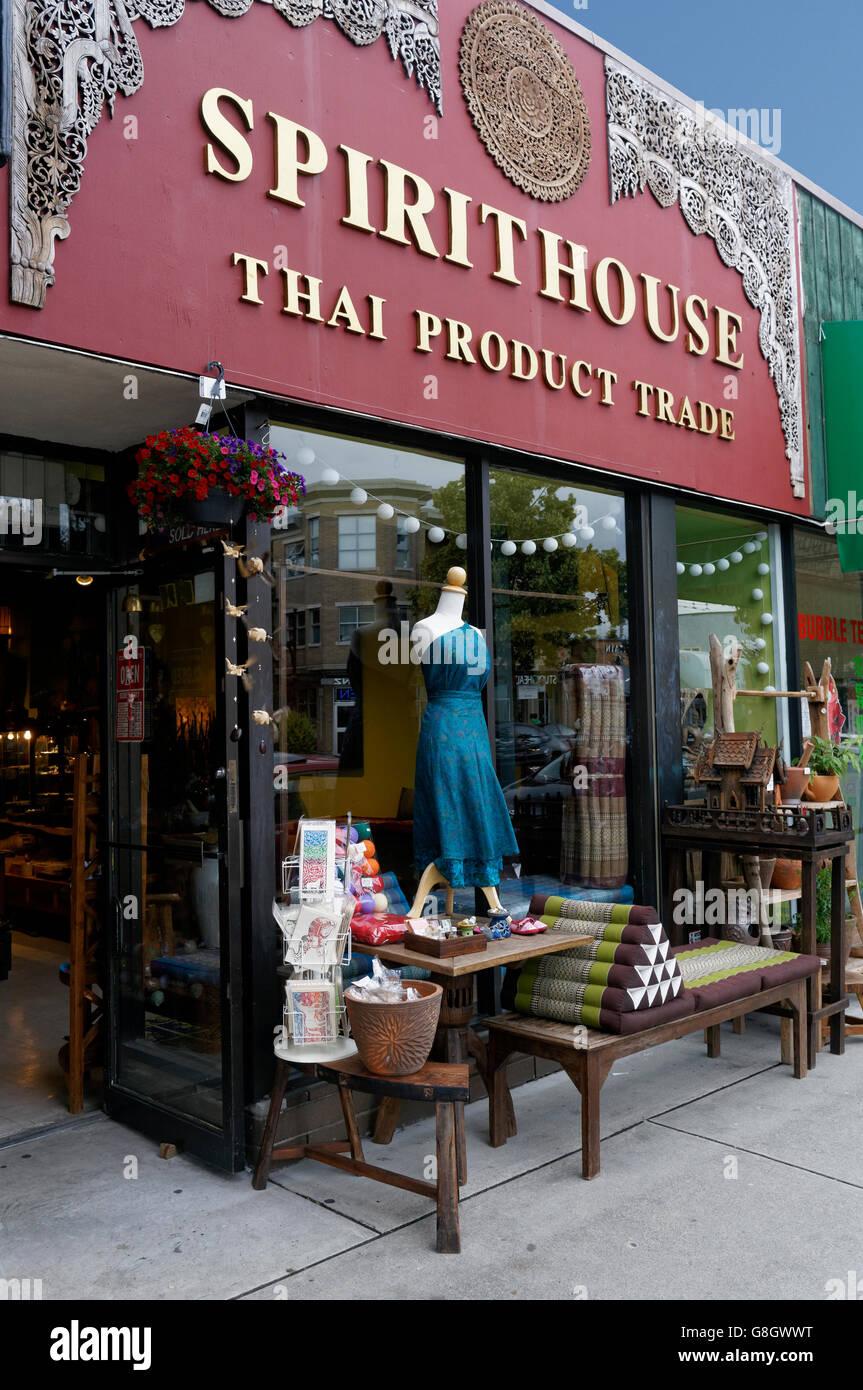 Spirit House Thai folk art store on Main Street, Vancouver, British Columbia, Canada - Stock Image