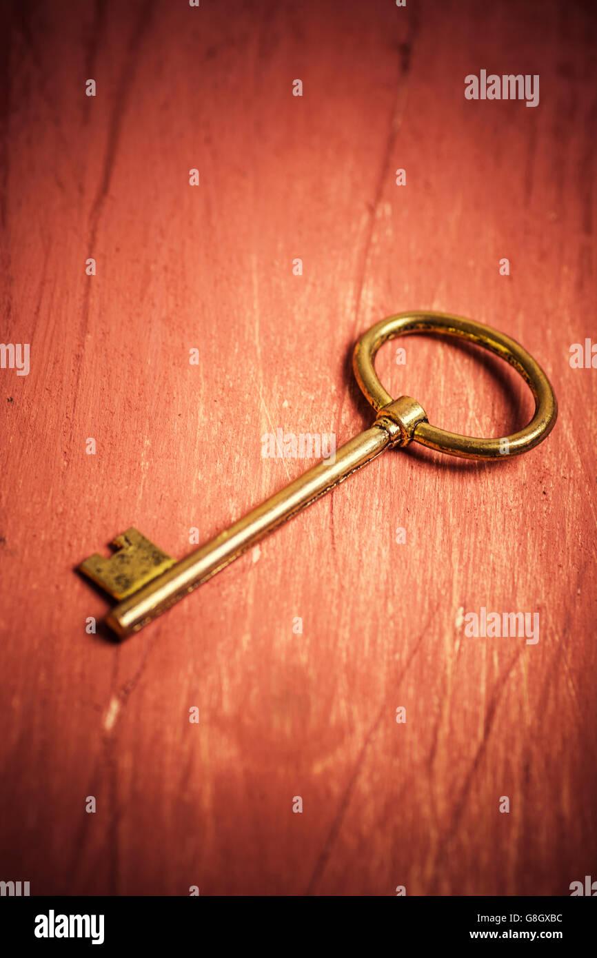 Old golden key - Stock Image