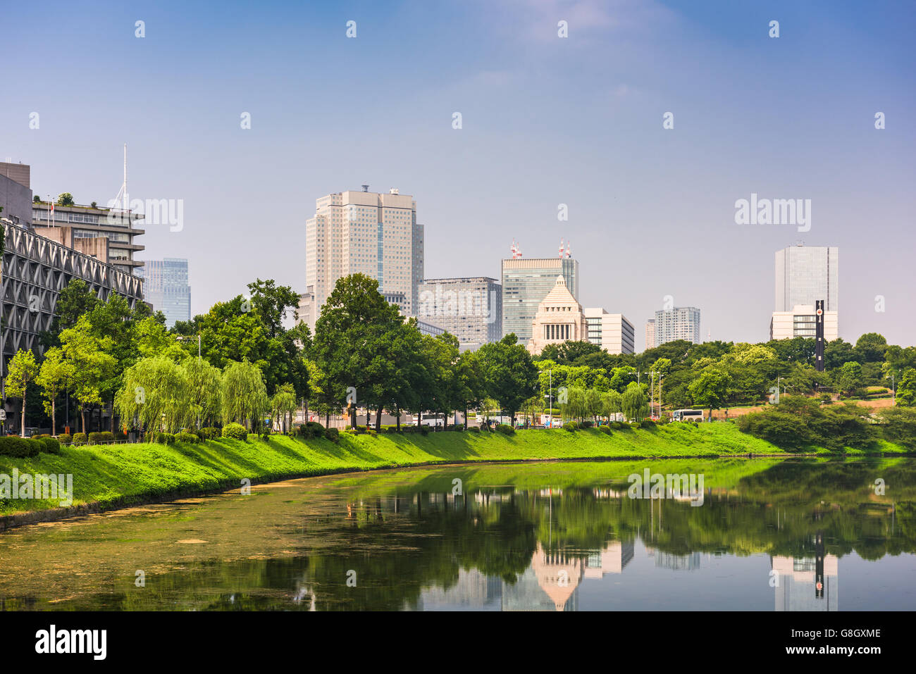 Tokyo, Japan cityscape on the Imperial Moat with the National Diet Building. - Stock Image