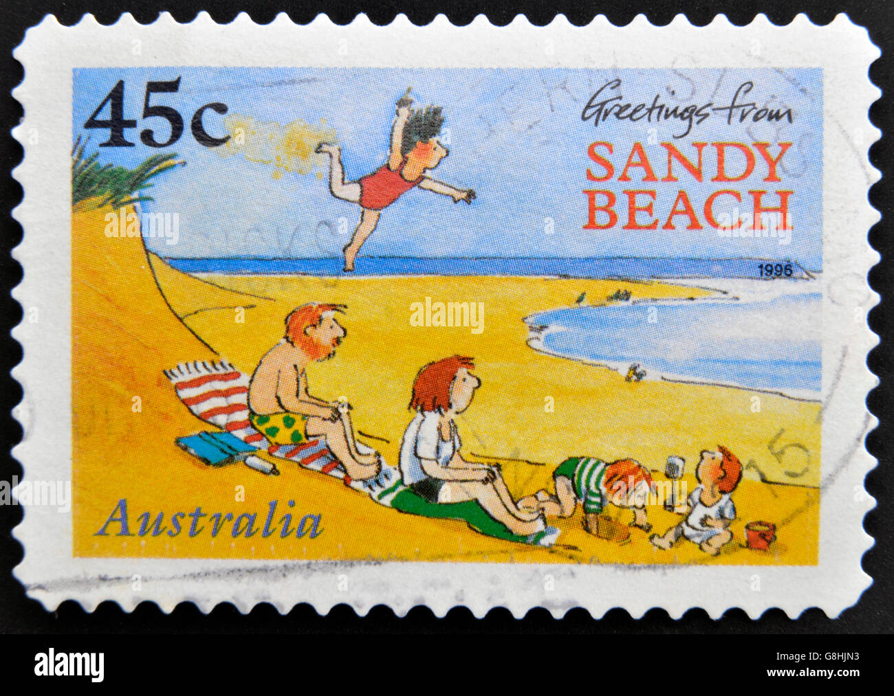 Australia circa 1996 a stamp printed in australia shows greetings australia circa 1996 a stamp printed in australia shows greetings from sandy beach circa 1996 m4hsunfo