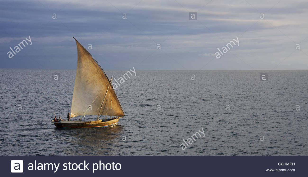 Dhow at the coast of Nosy Be, Madagascar - Stock Image