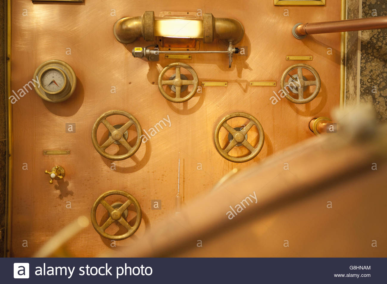 Fittings on wall of brewery in Traunstein, Bavaria, Germany - Stock Image
