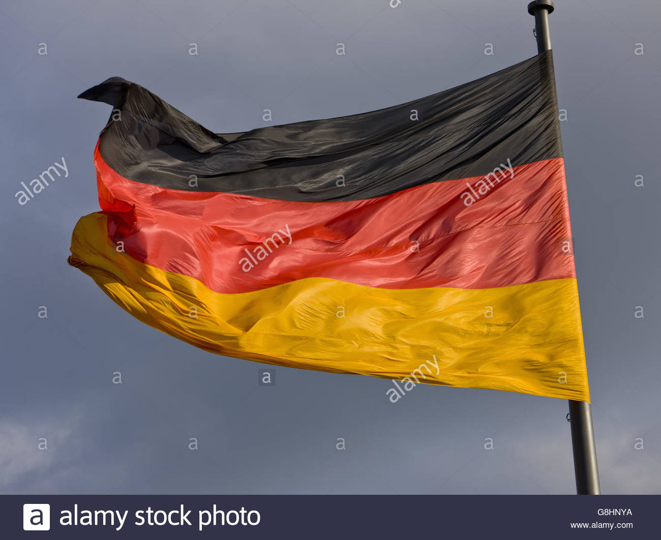 German Flag at Reichstag building, Berlin, Germany - Stock Image