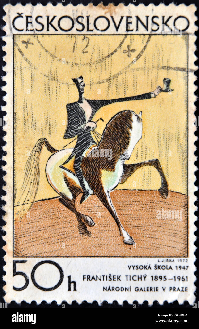 CZECHOSLOVAKIA - CIRCA 1972: A Stamp printed in Czechoslovakia shows draw 'Haute Ecole' by Frantisek Tichy - Stock Image