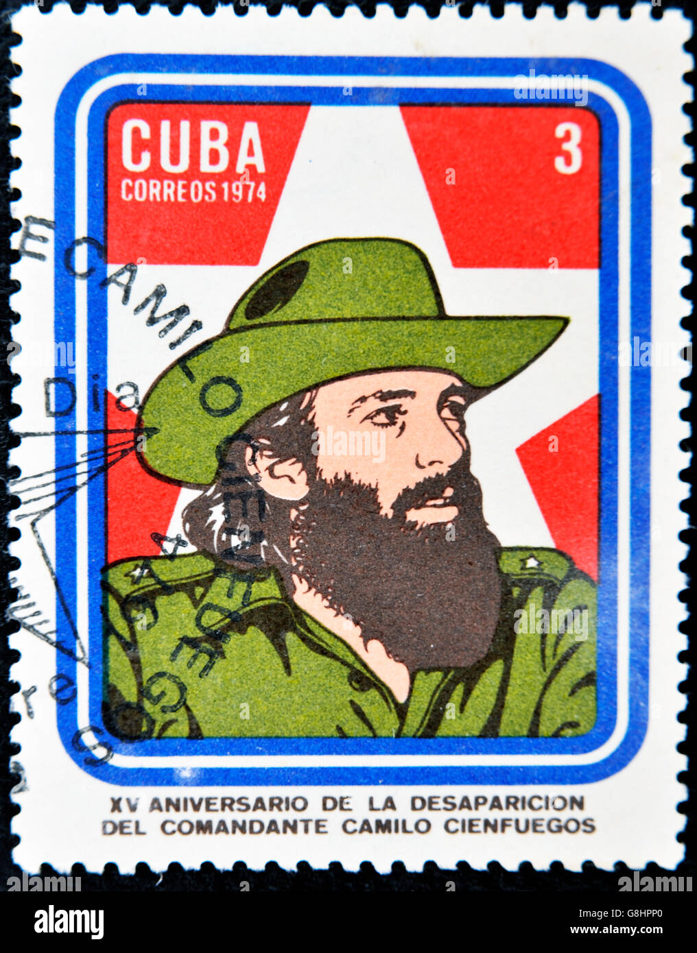 CUBA - CIRCA 1974: A Stamp printed in Cuba devoted 15 years of disappearance of Comandante Camilo Cienfuegos, circa - Stock Image